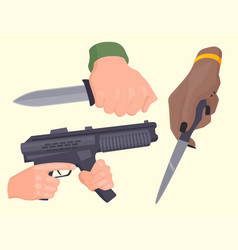 hand firing with gun protection ammunition crime vector image