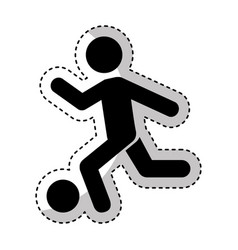 human silhouette playing soccer vector image vector image