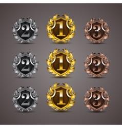 Set of luxury golden shields vector image