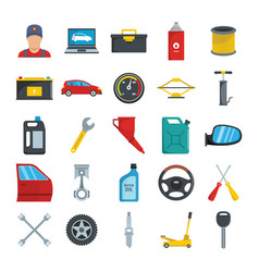auto service with tools and car flat icons set vector image