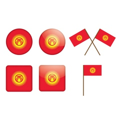 badges with flag of Kyrgyzstan vector image vector image