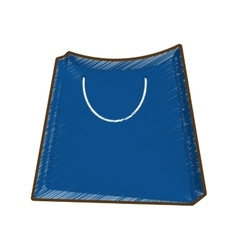 drawing blue bag gift shopping vector image