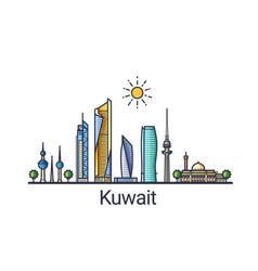 Flat line kuwait banner vector