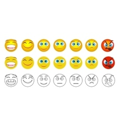 From negative to positive emoji emotions isolated vector image vector image