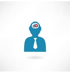 man with cogs in head icon vector image
