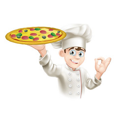okay sign pizza chef vector image vector image