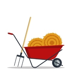 Red flat gardening wheelbarrow with hay and vector image