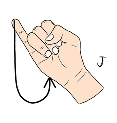 Sign language and the alphabetThe Letter j vector image