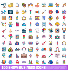 100 show business icons set cartoon style vector