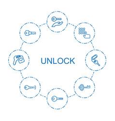 8 unlock icons vector image