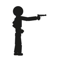 a man is aiming from a pistol sign vector image
