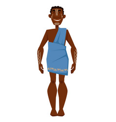 african man with white tattoos in dress tribe vector image