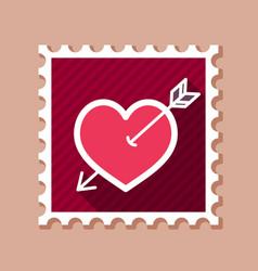 arrow heart stamp love sign vector image