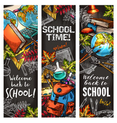 Back to school banner set for education design vector