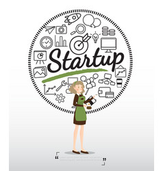 barista character with startup icons on white vector image