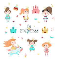 beautiful princess icon set isolated vector image