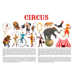 Big top circus animals tamers and equilibrists vector