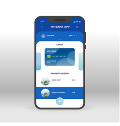 Blue online banking ui ux gui screen for mobile vector