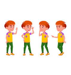 Boy schoolboy kid poses set red head vector