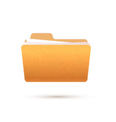 bright yellow realistic open folder with documents vector image