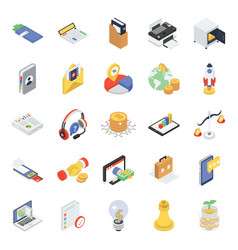 Business icons in modern isometric style vector