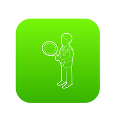 businessman holding magnifying glass icon green vector image