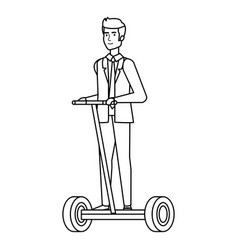 Businessman in folding e-scooter vector