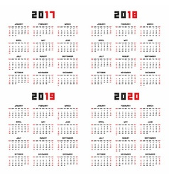 Calendar for 2017 2018 2019 2020 vector image