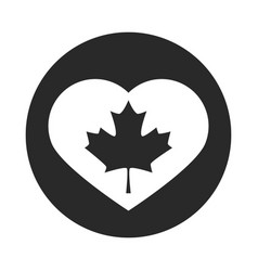 canada day maple leaf in heart badge decoration vector image
