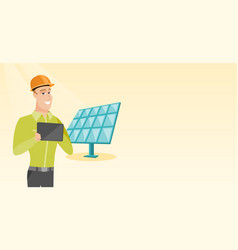 Caucasian worker of solar power plant vector