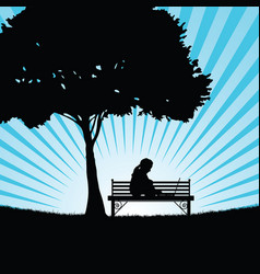 Child silhouette with laptop in nature vector