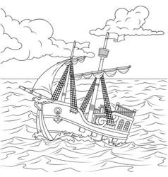 Children sailing ship vector
