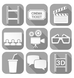 cinema icons set square gray signs with movie vector image