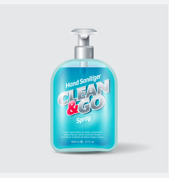 Clean and go antiseptic sanitizer label packaging vector