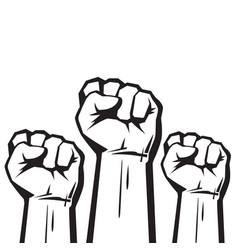 clenched fists raised in protest three human vector image