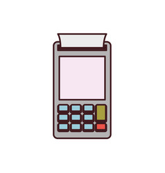 color silhouette with payment terminal and black vector image