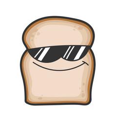 cool sunglasses slice bread cartoon vector image