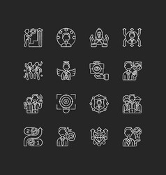 Core values chalk white icons set on black vector