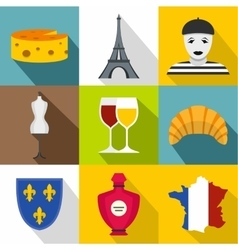 Country of France icons set flat style vector