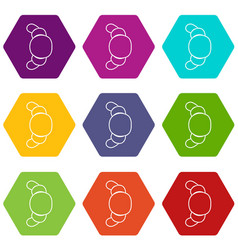 croissant icons set 9 vector image
