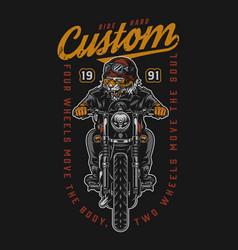 Custom motorcycle vintage colorful emblem vector