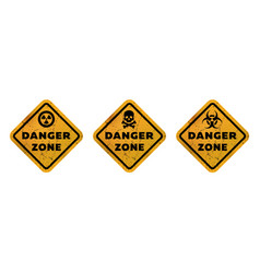 danger zone signs radiation toxicity and mortal vector image
