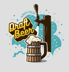 Draft beer tap with wooden mug or a tankard vector