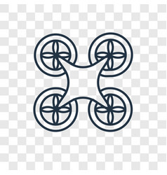 Drone concept linear icon isolated on transparent vector
