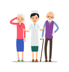 Elderly patients nurse stands and supports the vector