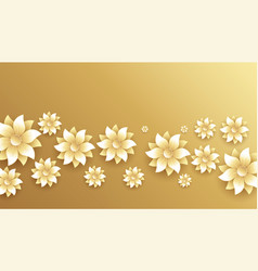 Elegant golden and white flowers decoration vector