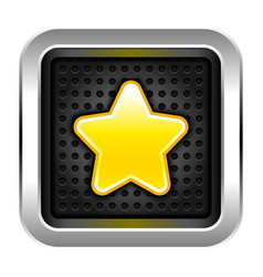 favorites icon gold star on chrome metal button vector image