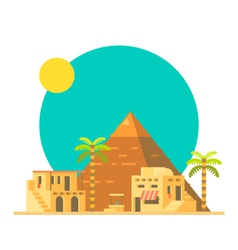 Flat design of great pyramid of giza in egypt vector