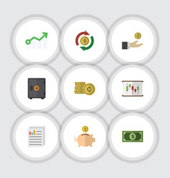 Flat icon finance set of interchange hand with vector