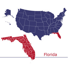 florida map counties with usa map vector image